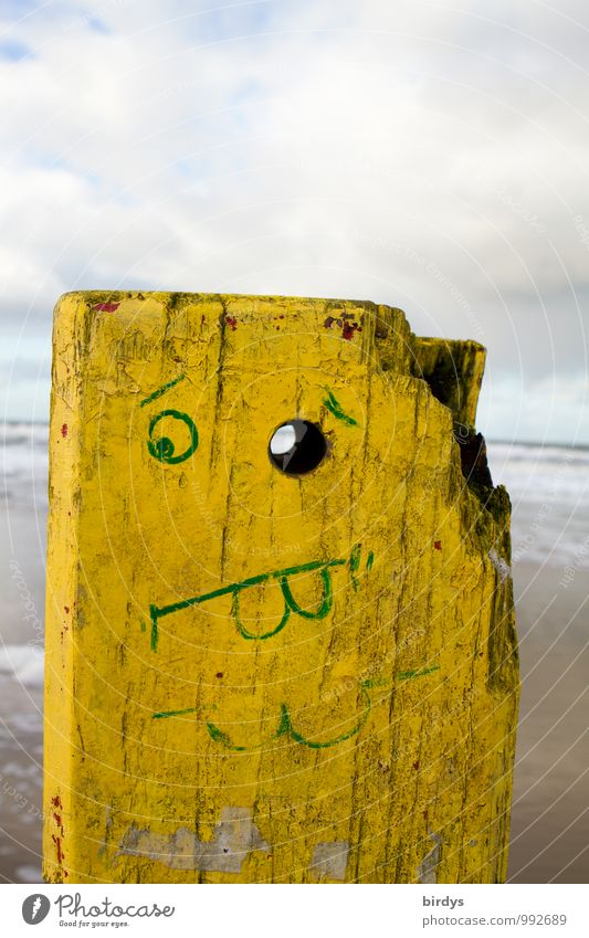 full post Clouds Beach Wood Looking Exceptional Funny Yellow Creativity Whimsical Facial painting Humor Carved wooden head Pole Eyes Facial expression Face