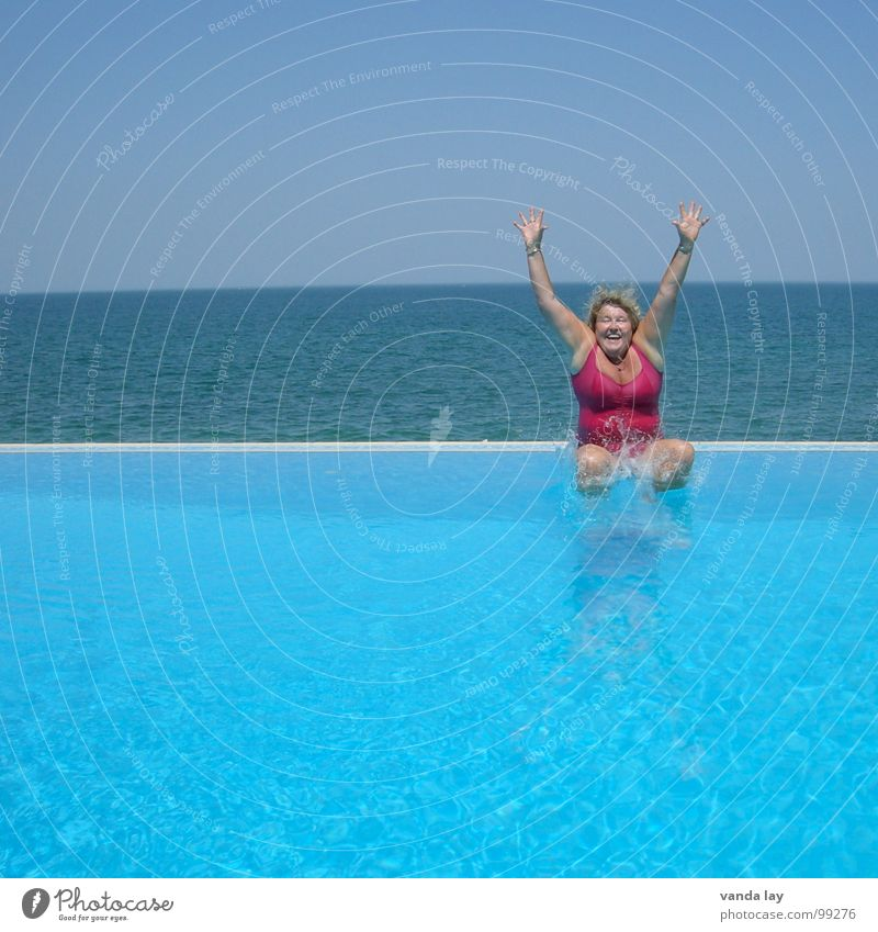 Woman Blue Old Water Vacation & Travel Summer Ocean Joy Beach Relaxation Playing Freedom Coast Jump Swimming & Bathing Pink