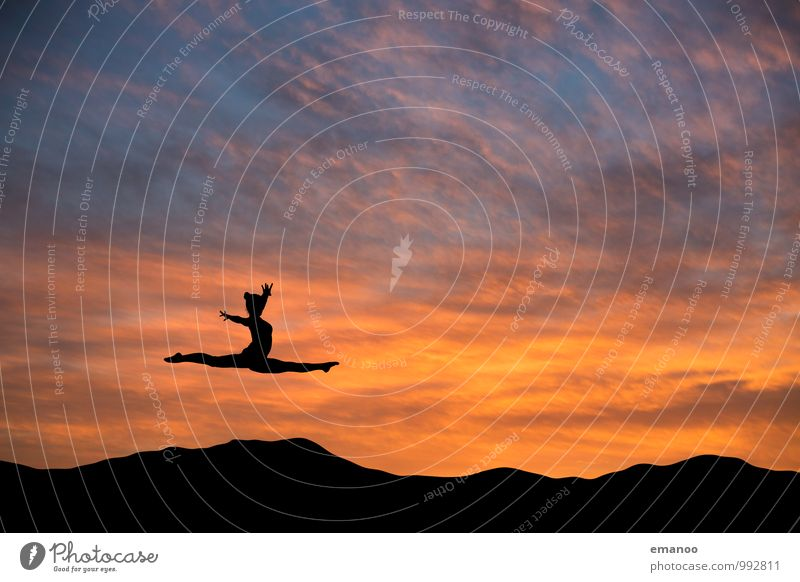 Human being Sky Nature Youth (Young adults) Young woman Clouds Joy Far-off places Life Feminine Style Sports Freedom Flying Jump Lifestyle