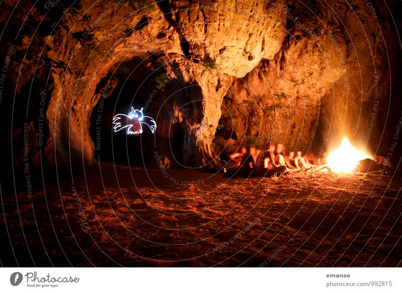 bat cave Vacation & Travel Adventure Freedom Expedition Camping Human being Friendship Youth (Young adults) Rock Sit Hot Bright Warmth Yellow Bat Cave