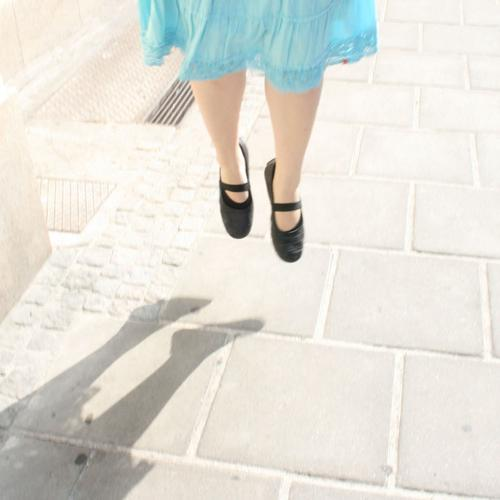 """the modern way to """"walk"""" Hover Suspended Woman Fairy steep Street Legs Shadow"""