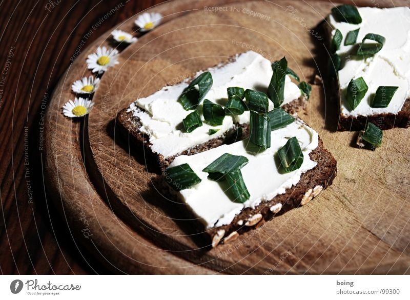 Bread Easy Dinner Daisy Wooden board Cheese Brunch Meal Vegetarian diet Sandwich Sofa Settee Finger food Chives Dairy Products Wholewheat