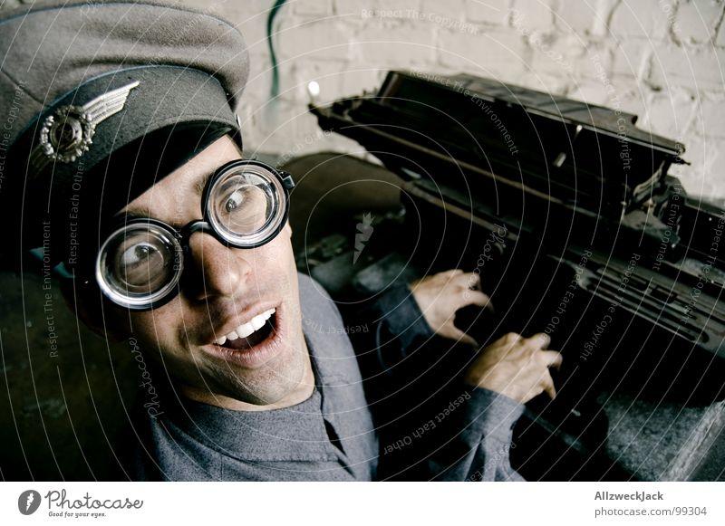 Man Office Laughter Happiness Communicate Eyeglasses Friendliness Stupid GDR Soldier Freak Rod Doofus Typewriter Clerk Congenial