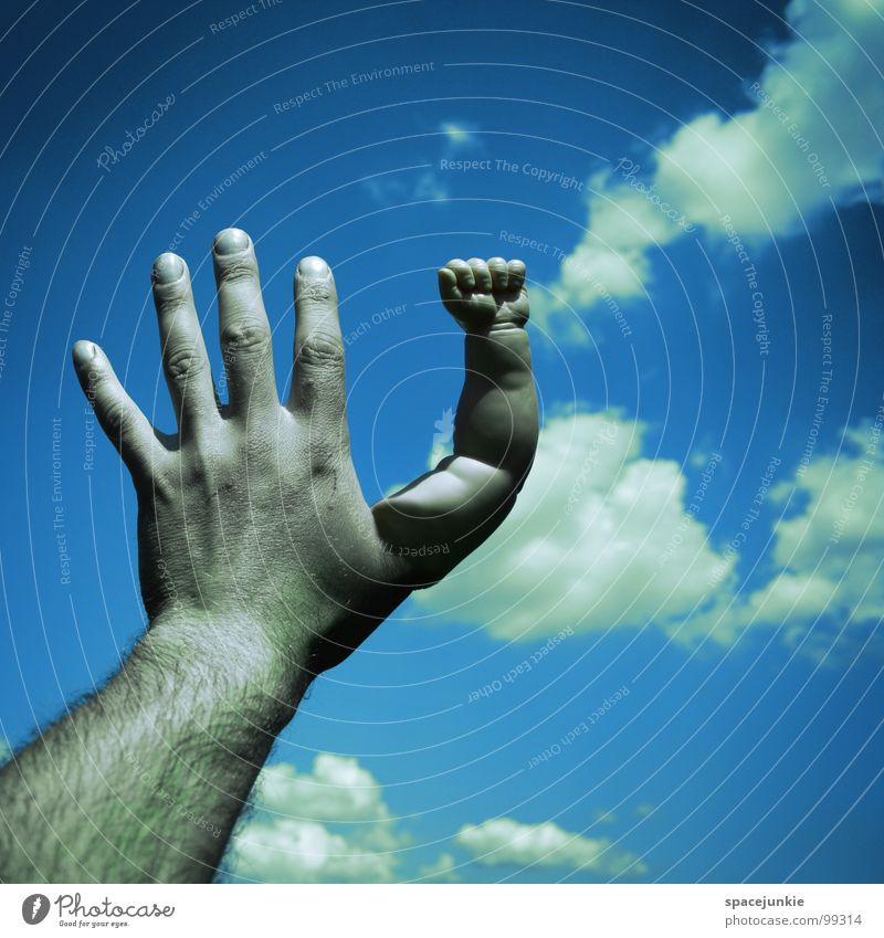 touch the sky Clouds Hand Fingers Touch Fist Whimsical Sky Strange Joy Arm doll-poor Blue Traffic infrastructure