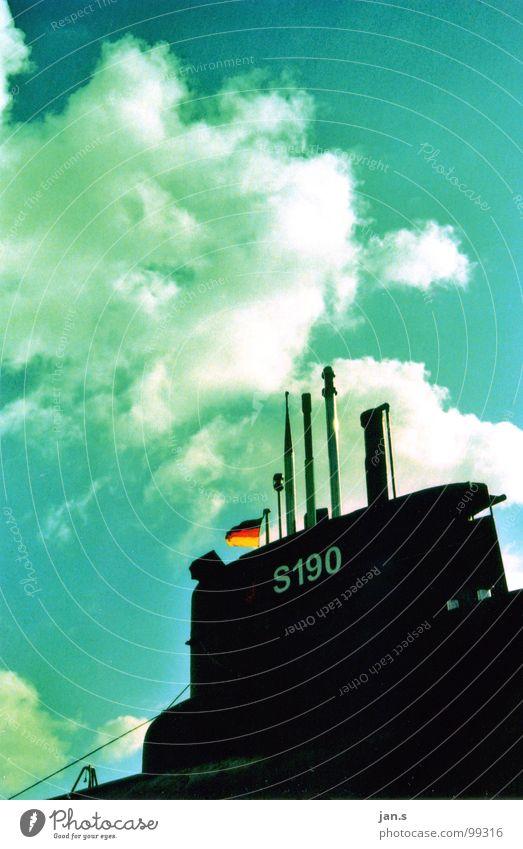 Sky Blue Black Clouds Watercraft Germany Navigation Navy Submarine