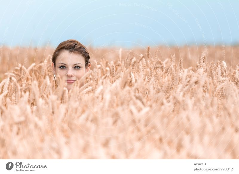 Funny young woman hides herself in cornfield Summer Human being Woman Adults Nature Positive girl autumn case natural crop grain Grinning happy head hair hidden