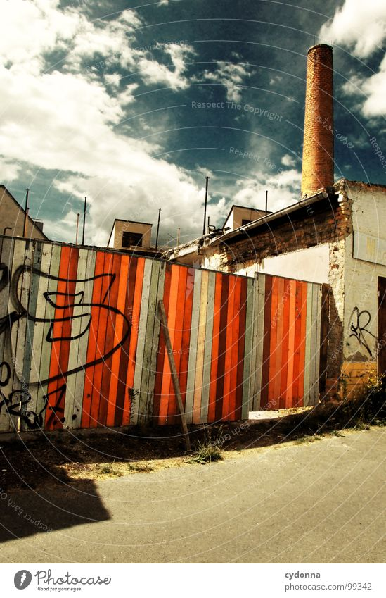 Paint it Black Weimar Town Empty Loneliness Death House (Residential Structure) Facade Wall (barrier) Uniqueness Summer Backyard Clouds Wood Dismantling Barrier