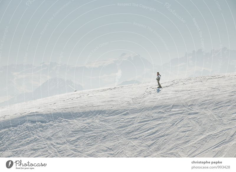 Human being Nature Vacation & Travel Relaxation Loneliness Landscape Calm Far-off places Winter Cold Environment Mountain Snow Sports Leisure and hobbies Stand