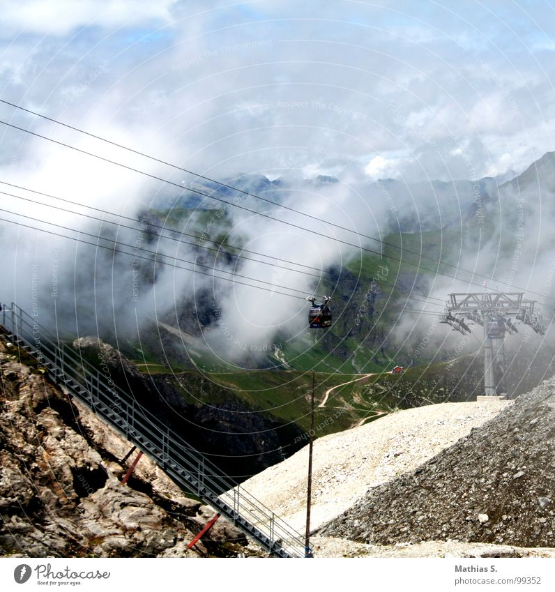 Sky Blue Summer Clouds Mountain Landscape Fog Stairs Rope Glacier Federal State of Tyrol Gondola Cable car Wire cable Tux Glacial melt