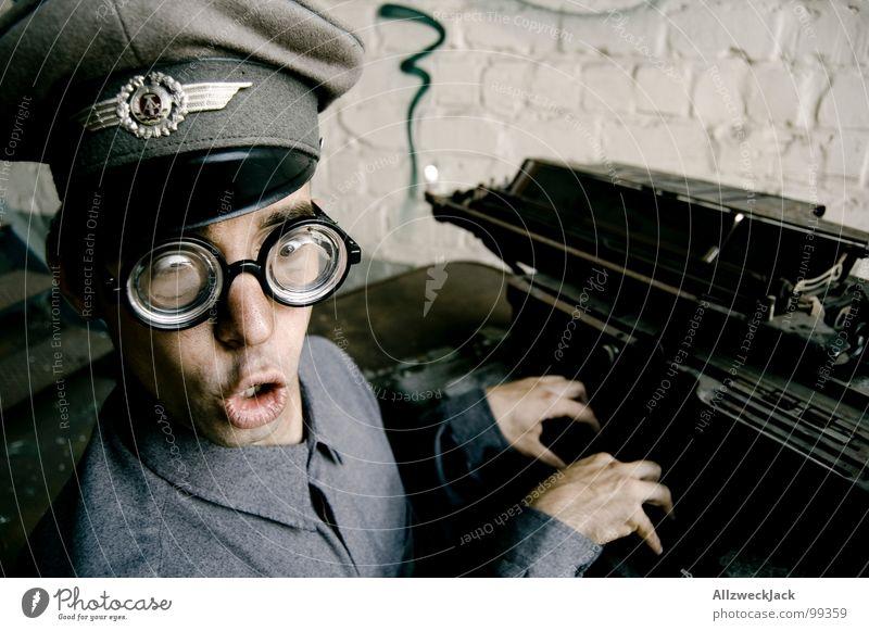 Karl - Oh shock, typed wrong! Air force Baseball cap Eyeglasses Clerk Typewriter Typing Soldier Stupid Carneval glasses Doofus Freak Happiness Friendliness