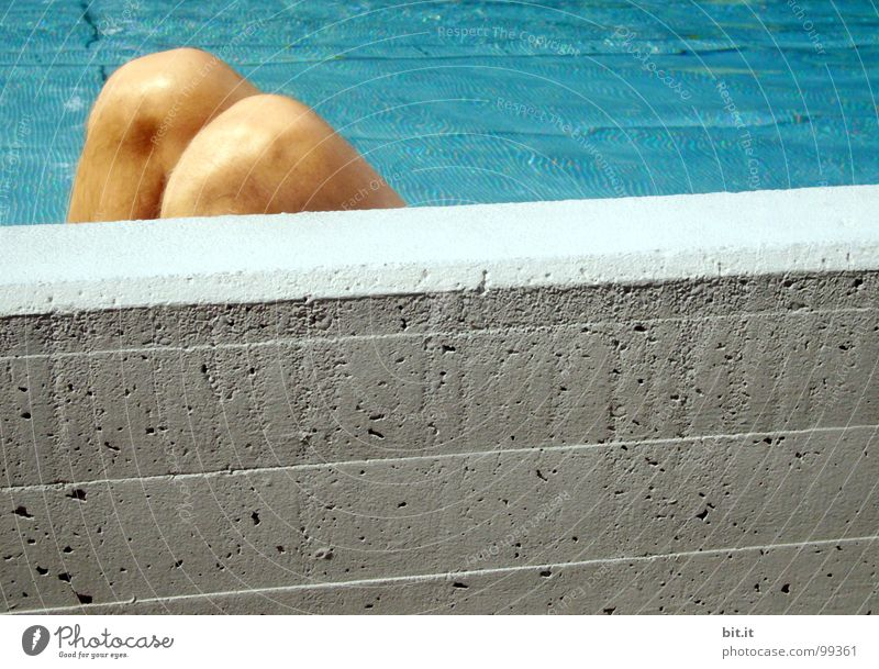 Blue Water White Vacation & Travel Summer Calm Relaxation Wall (building) Gray Stone Wall (barrier) Legs Feet Line Swimming & Bathing Lie