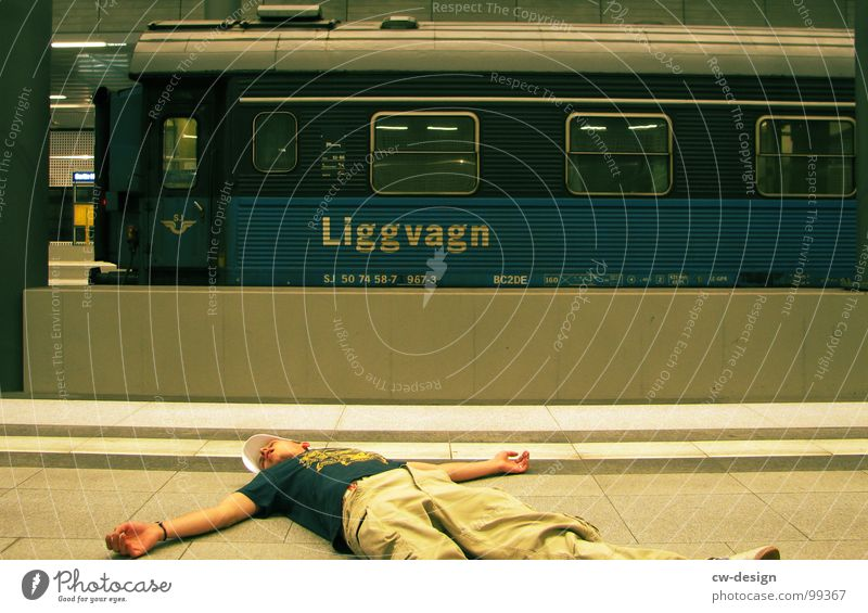Vacation & Travel Man Relaxation Berlin Death Masculine Lie Signs and labeling Sit Stand Wait To enjoy Trip Signage Railroad Sleep