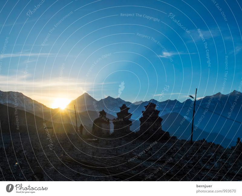 Nature Summer Landscape Mountain Religion and faith Authentic Beautiful weather Peak Snowcapped peak Manmade structures Belief Blue sky Temple Characteristic Buddhism Himalayas