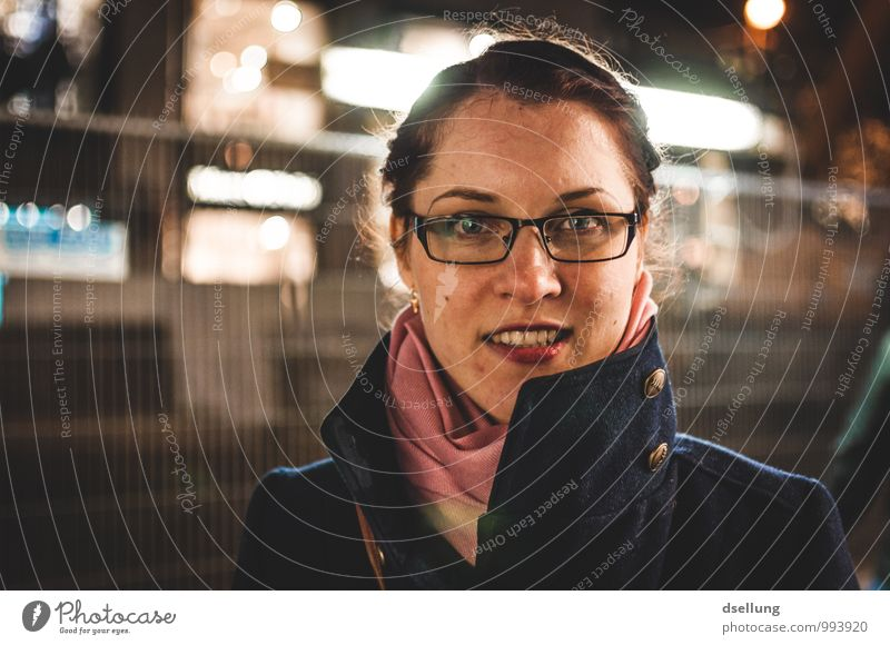 nightlights. Style Feminine Young woman Youth (Young adults) 1 Human being 18 - 30 years Adults Duesseldorf Town Jacket Coat Eyeglasses Scarf Brunette Smiling
