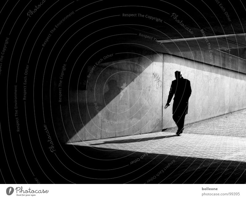 Man Sun City Black Loneliness Dark Think Planning Going Walking Concrete Dangerous To go for a walk Threat Tunnel Illustration