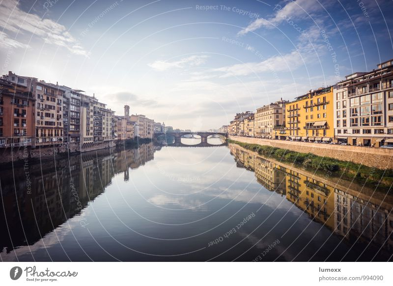 Arno Clouds River bank Florence Italy Europe Town Downtown House (Residential Structure) Blue Brown Yellow Colour photo Exterior shot Day Reflection