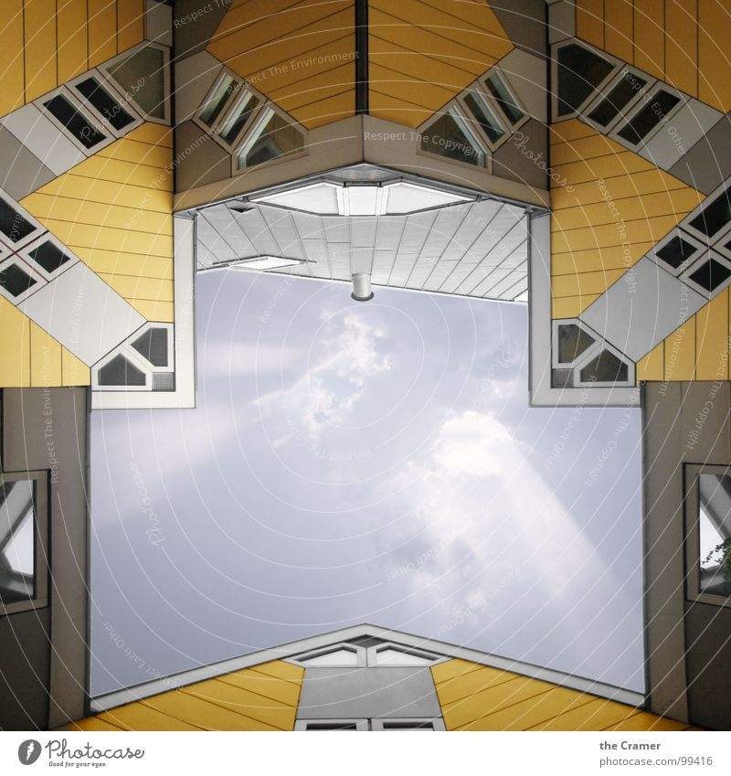 Sky House (Residential Structure) Clouds Yellow Window Netherlands Modern Roof Monument Landmark Gable Rotterdam