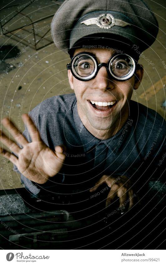 Karl - waves goodbye Air force Baseball cap Eyeglasses Clerk Typewriter Typing Soldier Stupid Carneval glasses Doofus Freak Happiness Friendliness Congenial