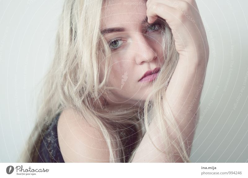 Human being Youth (Young adults) Beautiful White Young woman Loneliness 18 - 30 years Cold Adults Face Sadness Emotions Feminine Moody Dream Blonde