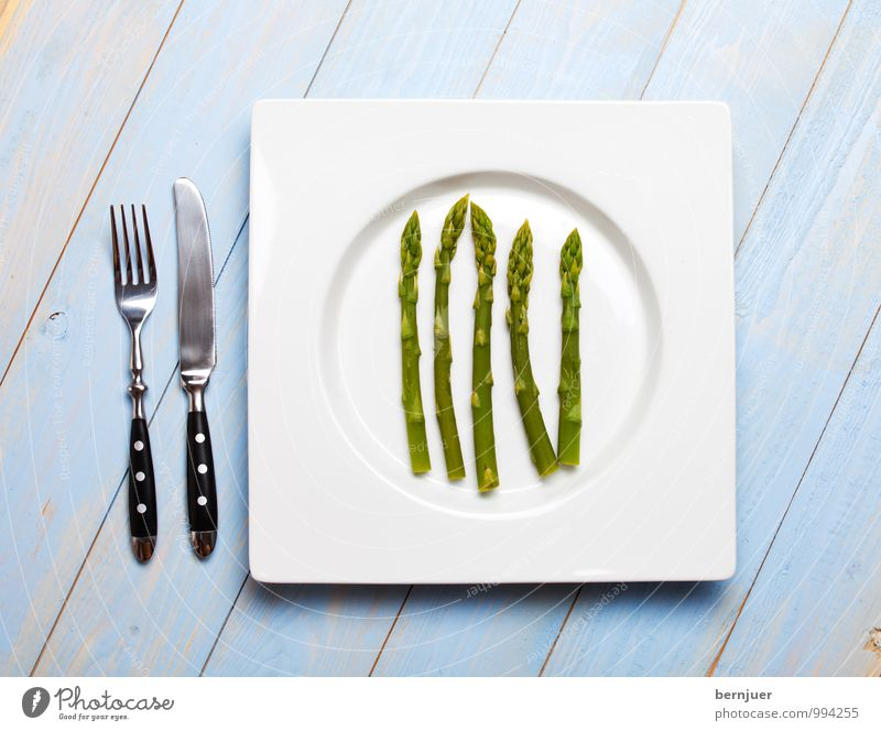 Blue Green Spring Food Good Vegetable Organic produce Plate 5 Knives Vegetarian diet Cutlery Fork Honest Cheap Asparagus
