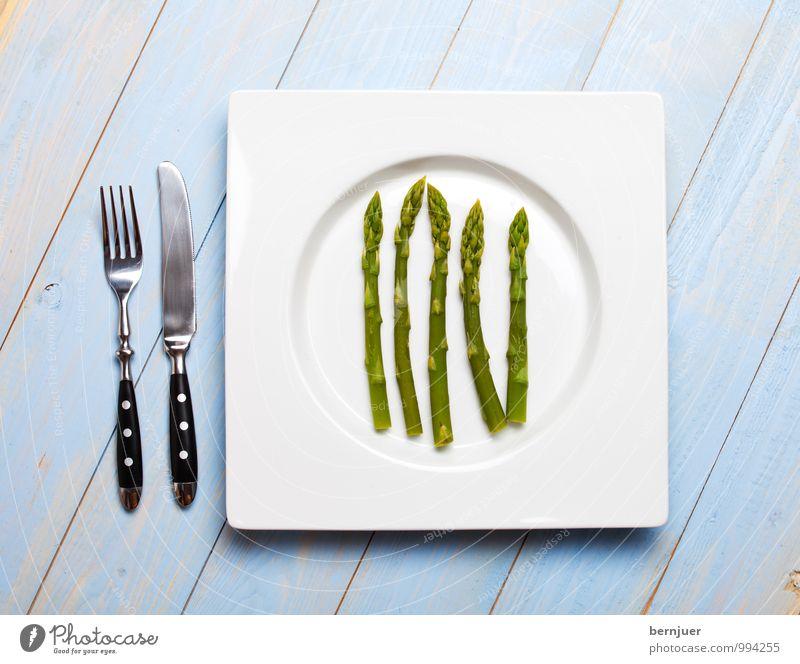 green asparagus Food Vegetable Organic produce Vegetarian diet Plate Cutlery Knives Fork Cheap Good Honest Asparagus Asparagus head Green Blue 5