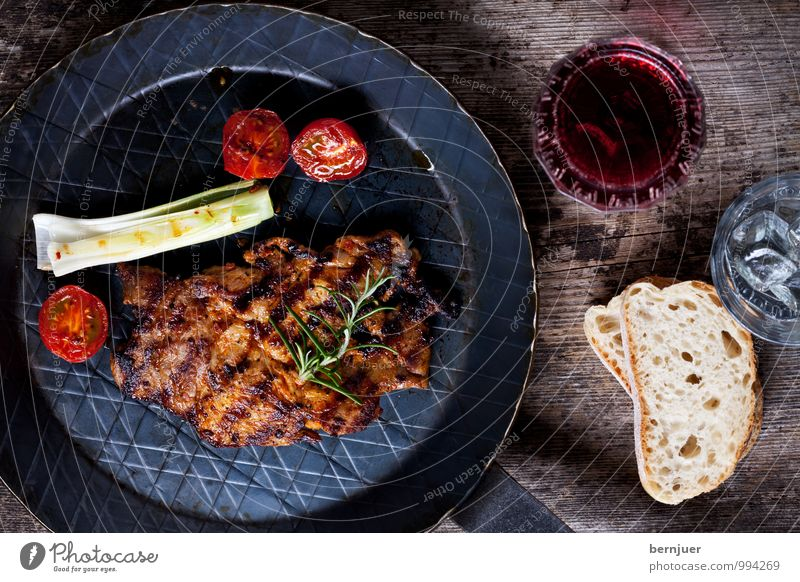 Had a rough time Food Meat Vegetable Eating Beverage Wine Pan Glass Barbecue (apparatus) Cheap Good Honest pork steak neck ridge Steak grilled iron pan Red wine
