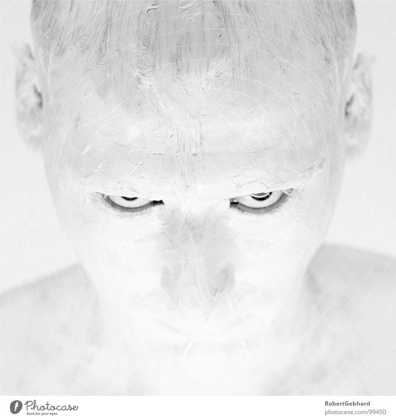 white in white White Portrait photograph Bodypainting Black Black & white photo Man Anger Aggravation wise robert gebhard Colour Face Skin Eyes