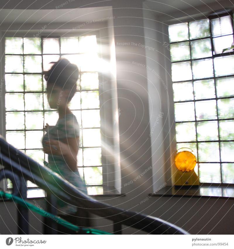 Woman Human being Sun Window Stairs Dress Hallway Ghosts & Spectres  Handrail Glass block Tube light Construction lights