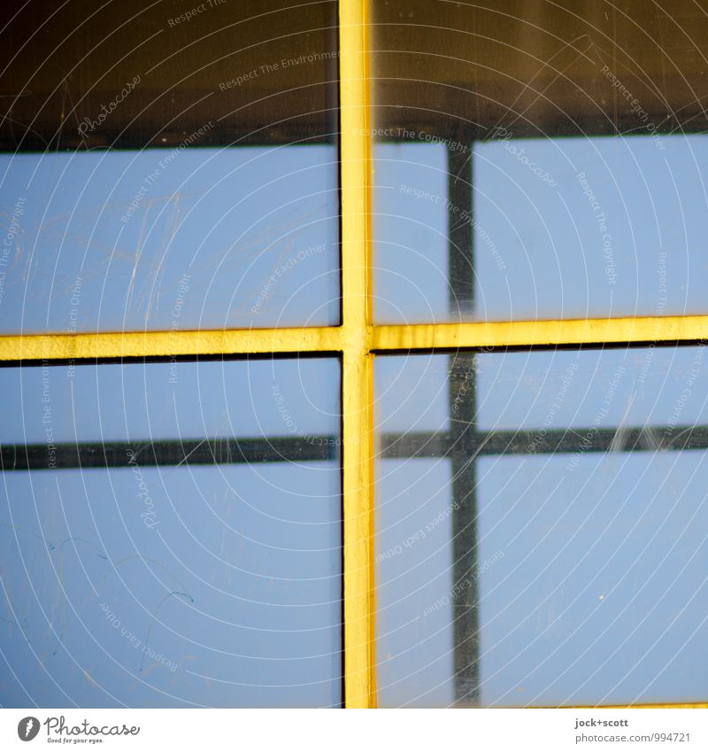 double plus Cloudless sky Window Glass Line Three-dimensional Thin Retro Yellow Protection Center point Symmetry Crucifix Parallel Offset Prop Minimalistic
