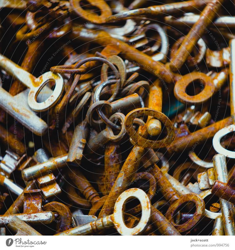 Encryption Collection Key Metal Encrypted Oval Select Authentic Many Brown Chaos Transience Colour tone Defective Ravages of time Detail Abstract