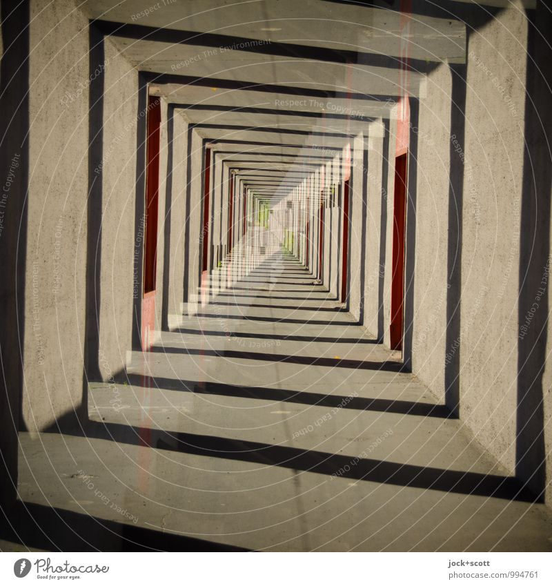 tunnel vision Style Architecture Tunnel Square Sharp-edged Fantastic Agreed Inspiration Complex Center point Surrealism Irritation Lanes & trails Illusion