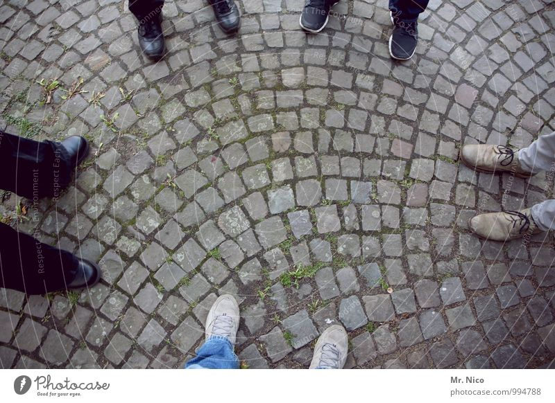 UT Köln, five's not enough. Lifestyle Masculine Feet 5 Human being Lanes & trails Footwear Stand Cobblestones Stone floor Fashion Black Gray Attachment Together