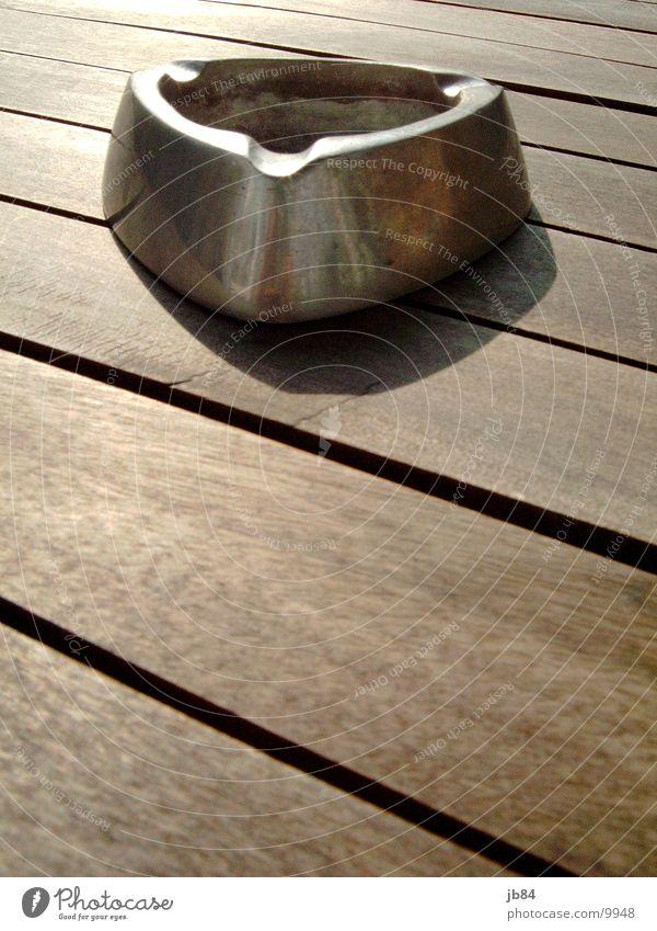 ashtray_01 Ashtray High-grade steel Garden table Teak Brown Living or residing Silver