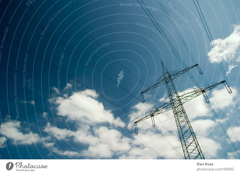 Sky Blue Tall Modern Electricity Open Thin Middle Under Radiation Manmade structures Electricity pylon Geometry Noble Wire Transmission lines