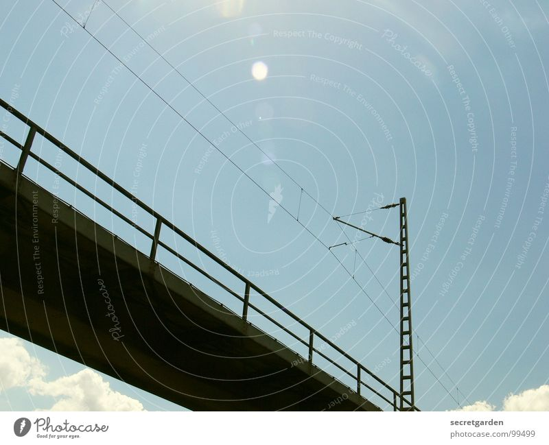 Sky Sun Clouds Bright Room Tall Modern Electricity Railroad Bridge Driving Technology Industrial Photography Level Beautiful weather Handrail