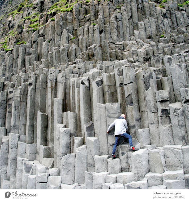 Human being Nature Youth (Young adults) Landscape Joy Young man Far-off places Environment Adults Mountain Stone Sand Masculine Weather Power Body