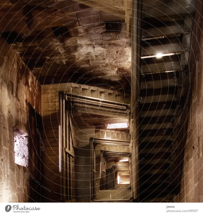 Dark Wood Fear Stairs Level Tower To fall Infinity Derelict Historic Deep Ladder Handrail Panic