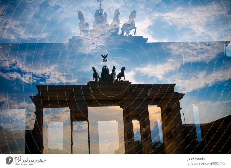 Re: Retour coach Clouds Capital city Tourist Attraction Landmark Brandenburg Gate Famousness Historic Moody Inspiration Surrealism Double exposure Reaction