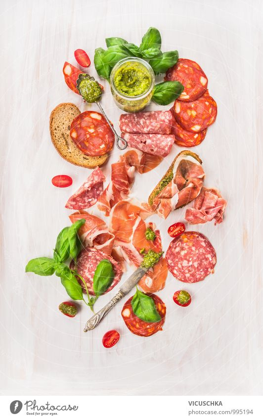Cold Italian meat platter Food Meat Sausage Herbs and spices Nutrition Lunch Banquet Organic produce Diet Knives Spoon Style Design Italien pesto Composing