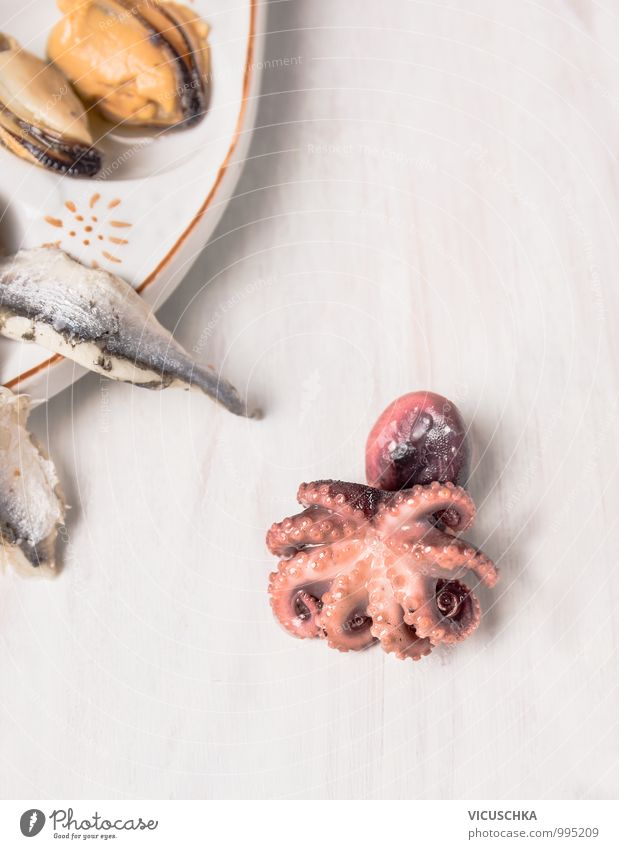 Baby octopus on white wooden table Food Seafood Nutrition Lunch Banquet Organic produce Diet Style Design Pink Octopus Background picture Mediterranean Squid