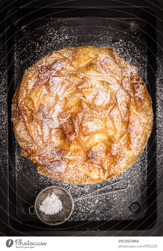 Round fillo dough cake with icing sugar Sieve on baking tray Food Dough Baked goods Cake Dessert Nutrition Banquet Crockery Style Design Kitchen