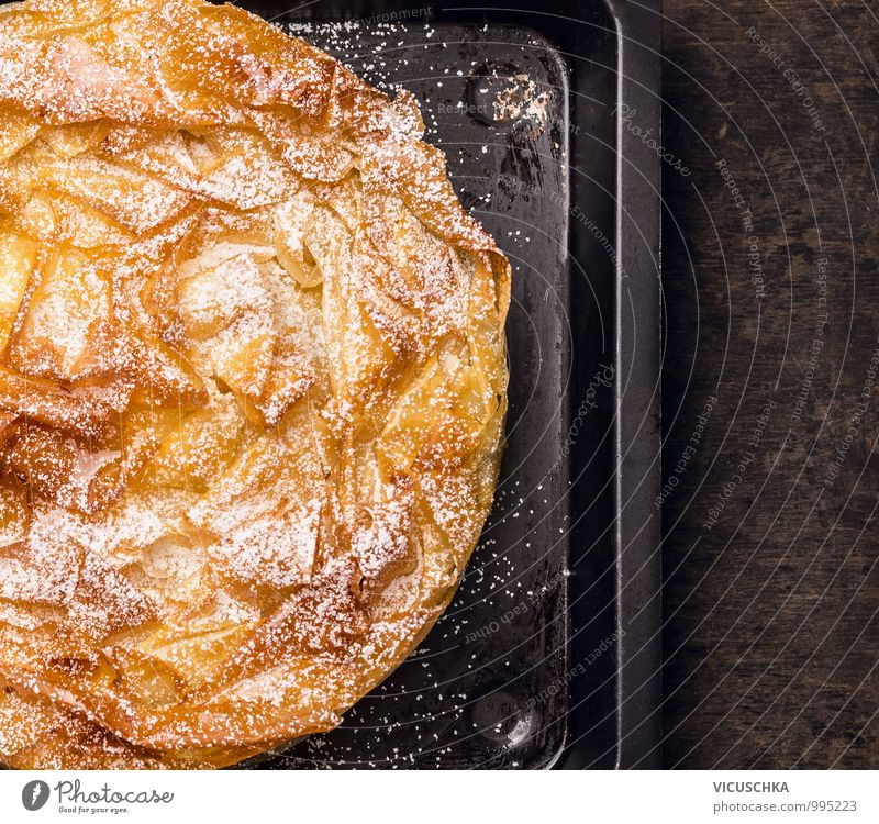 Cake with filo dough on old baking tray Food Dessert Nutrition Lunch Organic produce Vegetarian diet Diet Crockery Style Design Leaf filo pastry yufkate dough