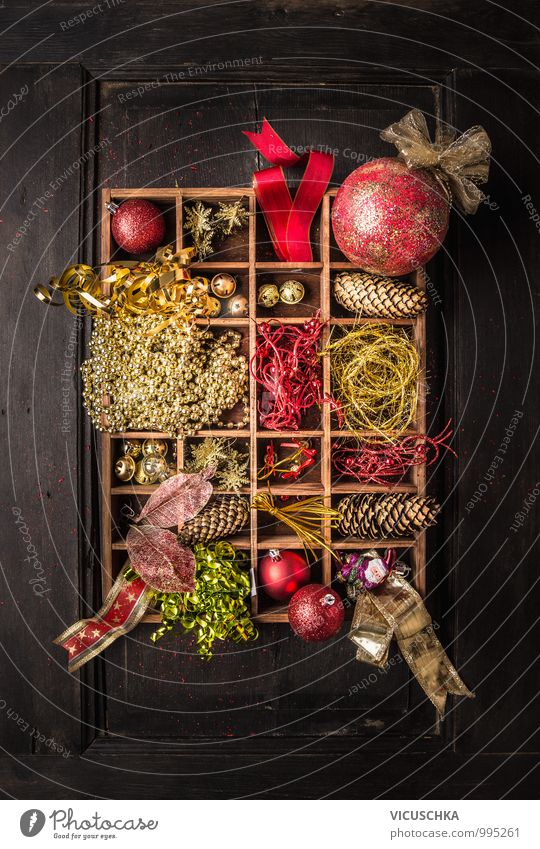 Wooden box with Christmas decoration, on dark background Style Design Winter Interior design Decoration Feasts & Celebrations Christmas & Advent Ornament Retro