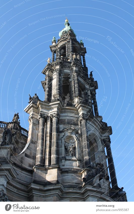 Church architecture tower Dresden Town Old town Architecture Facade Tourist Attraction Uniqueness Culture Art Vacation & Travel Tourism Colour photo