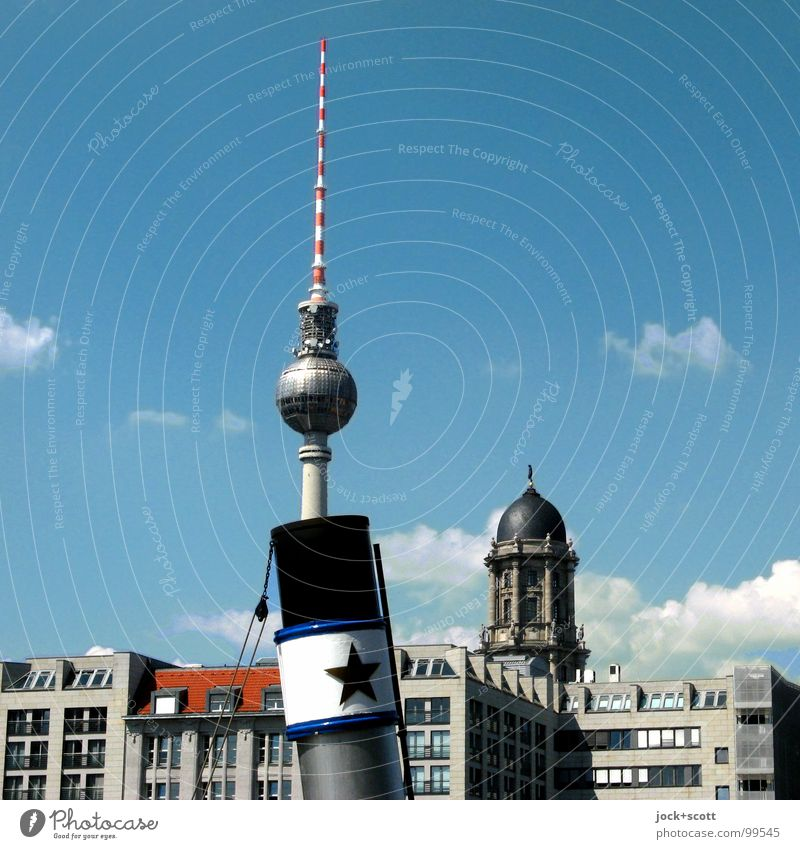 ...3,2,1./ Architecture Clouds Summer Beautiful weather Warmth Downtown Berlin Capital city Building Facade Tourist Attraction Landmark Berlin TV Tower