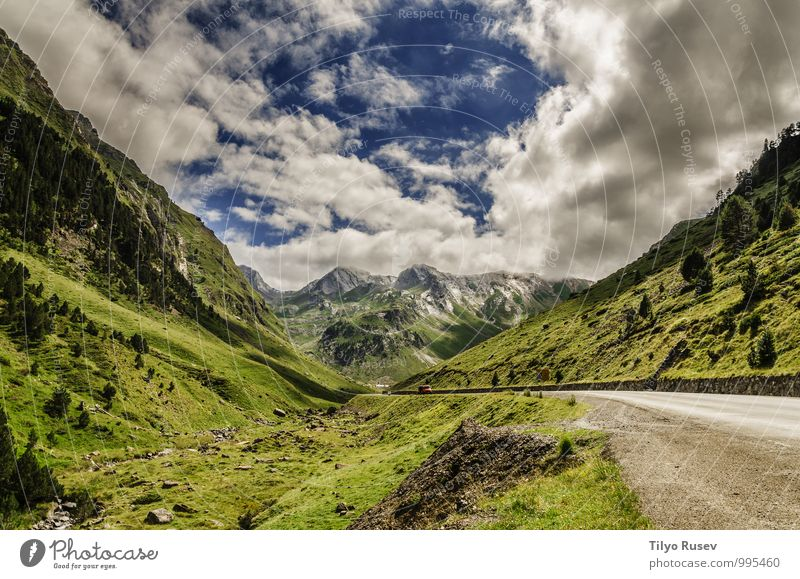 Road Trough The Pyrenees Mountains Sky Nature Vacation & Travel Beautiful Green Colour White Landscape Clouds Winter Environment Street Natural Vantage point