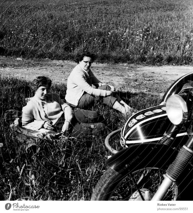 motorcycle brides Woman Motorcycle Sidecar Break Field Wayside Margin of a field Flower Weekend Sister Transport Leisure and hobbies Sit Lie Horse and cart