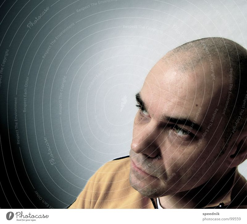 Losing Touch With My Mind Portrait photograph Pallid Yellow White Bald or shaved head Man Think Haircut Insulted Frustration Bad mood Grief Hair and hairstyles