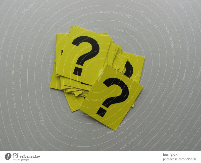 Searching for answers Sign Characters Signs and labeling Communicate Sharp-edged Curiosity Yellow Gray Black Emotions Mysterious Puzzle Question mark Ask