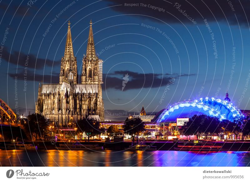 Cologne Cathedral III Church Dome Tourist Attraction Culture Art Colour photo Exterior shot Evening Twilight Deep depth of field